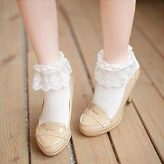 Soft sister lace cotton socks · HIMI'Store · Online Store Powered by Storenvy Frilly Socks, Lace Socks, Cotton Socks, Ankle Socks, Kawaii Fashion, Lolita Fashion, Cute Fashion, Fashion Outfits, Lolita Shoes
