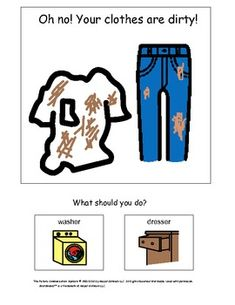 Interactive book to teach kids with autism when and where it is appropriate to wear certain types of clothes.