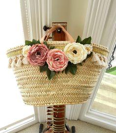 Farmhouse peony straw basket, Rustic nursery & home decor, Shabby chic cabbage rose basket, Pottery barn style pink flower basket #shabbychic #peonies #cabaggeroses #pink #strawbasket #brightonbabe