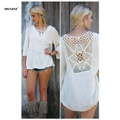CMYAYA 2016 New Women Casual Spring White Full Sleeve Lace Up V-Neck Lace Patchwork T-shirt at our web shop http://www.aliexpress.com/store/536244