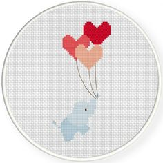 Hearts Away Cross Stitch Illustration