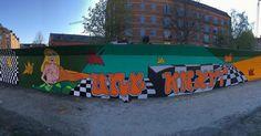 Farve overdosis på nuuks plads  #byenshegn #lastproject #finished #sunset #orange #mural #muralism #wallporn #crew #teamawsome #goodtimes #streetart #cphstreetart #turkis #funky #stilisering #perspektiv #workshop #3days #weekendhygge #nuuksplads #ungkræft #ungkræftpåbyenshegn #krea by miiinny
