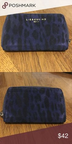 Liebeskind Berlin Print Suede Wa... Blue and Black Leopard Print Suede, Large Wallet Clutch. Zipper Closure. Inner Zipper With Multiple Slots. Lovingly Used. Country Of Origin Germany. Liebeskind Bags Wallets