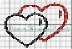 hartjes Cross Stitch Music, Small Cross Stitch, Cross Stitch Heart, Wedding Cross Stitch Patterns, Cross Stitch Designs, C2c, Cross Stitching, Cross Stitch Embroidery, Graph Paper Art