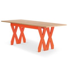 Double Cross Extending Console to Dining Table, Oak & Orange Concrete Dining Table, Concrete Furniture, Oak Dining Table, Dining Table Design, Extendable Dining Table, Console Table, Furniture Design, Contemporary Dining Table, Modern Dining Room Tables