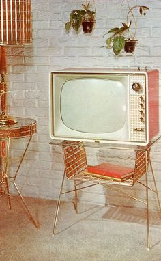 Vintage TV, I would love this in my living room. Vintage Tv, Look Vintage, Vintage Decor, Vintage Furniture, Retro Furniture, 1950s Decor, Office Furniture, Mid-century Modern, Green Label