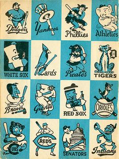1956 Baseball Team Mascots. This art of baseball team mascots was spotted by Bethany Heck of the blog Eephus League of Baseball Minutiae and comes from the 1956 edition of the book Inside Baseball for Little Leaguers. I especially like the odd expressions of the bat-wielding Sox characters.    via Alyssa Milano and Fox On The Run    image via Eephus League of Baseball Minutiae