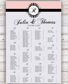 Wedding Seating Chart -  FREE RUSH SERVICE 12 hours - Monogram Wedding Seating Chart, Reception Template Seating Chart -HBC59