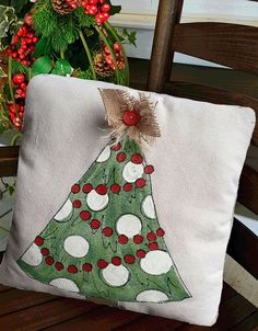 Whimsical Hand-painted Christmas Tree Pillow Cover. Pillow cover is hand-painted on medium weight cotton canvas and is signed by the artisan.