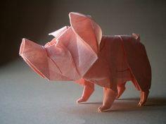 Origami pig. Love his nose!!  by raudonasrubinas on Flickr