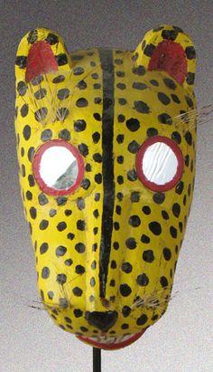 Jaguar traditional dance mask, Oaxaca, Mexico