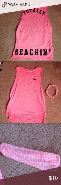 "Victoria's Secret PINK Workout Tank w/ Headband Victoria's Secret PINK ""Totally Beachin"" Workout Tank w/ Matching Pink Headband PINK Victoria's Secret Tops Tank Tops"