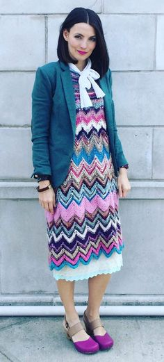 Free knitting pattern for Zig Zag Dress - Irina Poludnenko designed this lace dress with a skirt that is knit in the round with chevron lace. Great for stash or multi-color yarn! More Dress Knitting Patterns at http://intheloopknitting.com/dress-knitting-patterns/