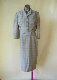 Vintage 50s Grey Plaid Skirt Dress Suit