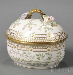 "Royal Copenhagen Porcelain ""Flora Danica"" Covered Bowl"