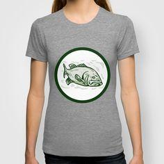 Largemouth Bass Fish Front Side Circle Cartoon T-shirt