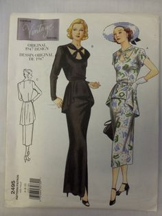 2000 VOGUE VINTAGE Model REPRODUCTION Original 1947 Design Gown w/Peplum Pattern sz 6-8-10 UNcut