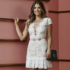 Simple Dresses, Pretty Dresses, Short Sleeve Dresses, Event Dresses, Prom Dresses, Formal Dresses, Dress Skirt, Lace Dress, White Dress