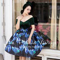 Envío gratis le palais de la vendimia elegante negro azul verde floral v cuello sin tirantes de cintura alta longitud de la rodilla dress mujeres vestidos
