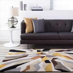 Patterned Rugs Room Rugs, Rugs In Living Room, Thing 1, Yellow Area Rugs, Space Furniture, Accent Furniture, Furniture Decor, Modern Furniture, Modern Area Rugs