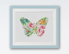 BOGO FREE! Butterfly Cross Stitch Pattern, Meadow Insects Silhouette Flowers Counted Cross Stitch Chart, PDF Instant Download #025-1-02 by StitchLine on Etsy