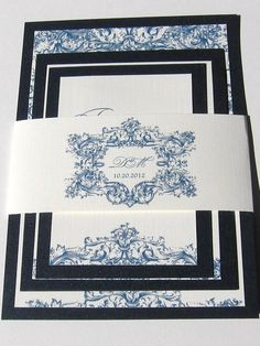 Custom Wedding Invitation Midnight Blue Vintage Baroque Sample Set. $4.50, via Etsy.
