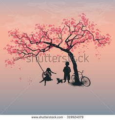 Children playing on a tire swing. Boy, girl and dog under the tree. Springtime. Cherry blossoms. Version 2. Vector, EPS 10
