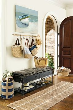 Simple Coastal Entryway Storage Ideas with Benches & Wardrobes - Completely Coastal Entryway Hooks, Coastal Entryway, Entryway Storage, Coastal Decor, Entryway Decor, Entryway Bench, Storage Drawers, Coastal Curtains, Homemade Home Decor