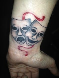 My version of comedy/tragedy theatre masks tattoo. #ArtfulInkMorley