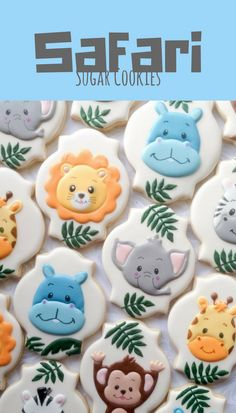 Baby Jungle Animal Cookies - One Dozen Decorated Sugar Cookies #affiliate