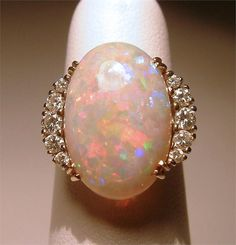 Vintage Gold Fiery Harlequin Natural Opal Diamond Ring Jewelry Estate