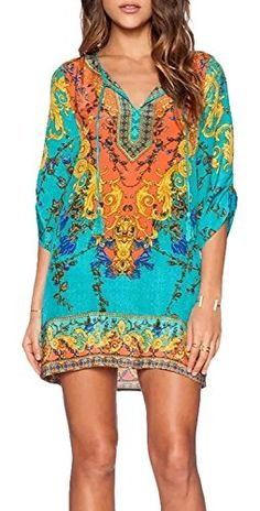 Women Bohemian Neck Tie Vintage Printed Ethnic Style Summer Shift Dress -- Click image for more details.