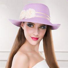 Purple flower straw hat for beach crimping sun hats package design. Lila  VirágokFejdíszPartiNői Divat 2300c16d10