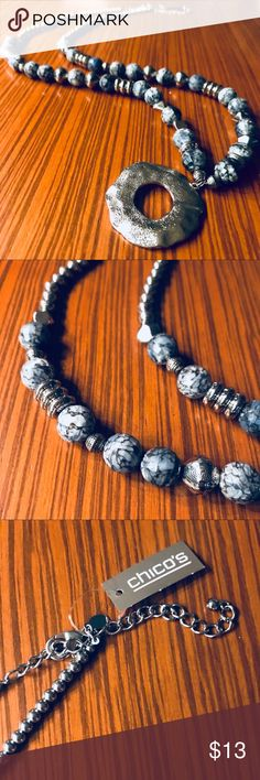 New Chico's Long Beaded Necklace, Silver&Gray, NWT ❤️ Chico's Jewelry Necklaces