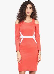 Orange Solid Bodycon Dress