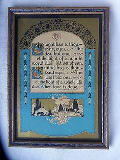 "Vintage Gibson Motto Print ""The Night Has a Thousand Eyes'"" Original Frame"