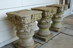 Set of three late 19thC. hand carved stone capitals for sale on SalvoWEB from Courtyard at Debden Barns in Essex  [Salvo code #reclaimed #capitals #salvo