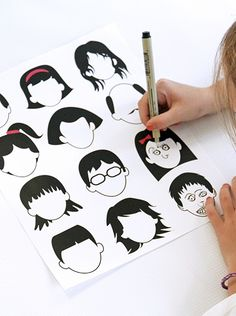 Free printable blank faces drawing page for kids