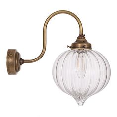 Shopping for glass lights? Try our wall mounted, brass Mia Wall Light, with hand blown glass shade for industrial or modern country feel to your bedroom, living room & kitchen diner. Jim Lawrence Lighting, Chimney Breast, Led Candles, Hand Blown Glass, Modern Lighting, Glass Shades, Wall Lights, Bulb, Antiques