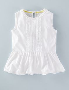Broderie Jersey Top 31996 Tops at Boden Baby Girl Dress Patterns, Little Girl Dresses, Baby Dress, Girls Dresses, Toddler Girl Dresses, Baby Frocks Designs, Kids Frocks Design, Mode Chic, Mode Style
