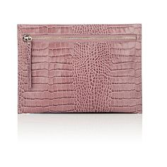 Barneys New York Women's Large Envelope Pouch (1 975 ZAR) ❤ liked on Polyvore featuring bags, handbags, clutches, light purple, crocodile purse, red crocodile purse, red purse, red pouch and red leather handbags