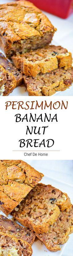 Persimmon Banana Nut Bread - Moist Banana bread with fresh persimmon fruit puree, walnuts and raisins for winter breakfast..