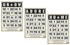 "JBS (3) 5""x7"" Bingo Cards-HOME ADORE GROW scrapbooking 99 CENT SALE!"
