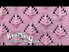 Small Pine Trees Knit Stitch Pattern-- LOVE this stitch 🌲 Baby Knitting Patterns, Lace Knitting Stitches, Knitting Charts, Lace Patterns, Free Knitting, Stitch Patterns, Knitting Videos, Knitting Projects, Knit Crochet