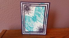 This Birthday card was made with paper from general craft stores.  I used Stampin Up stamp sets Shallowtail and Grateful Bunch.  For ink I used Stampin Up Tempting Turquoise and Elegant Eggplant.