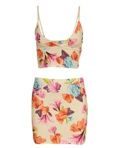 Cream Two Piece Floral Print Crop Top And Mini Skirt Suit  £ 11.95
