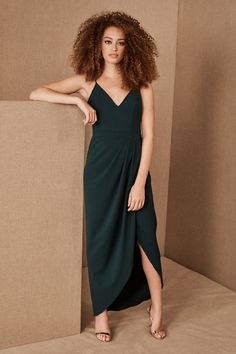 Caron Dress by BHLDN in Green Size: Women's Dresses at Anthropologie Vestido de caron Bridal Party Dresses, New Wedding Dresses, Bride Dresses, Bridal Gowns, Woman Dresses, Satin Midi Dress, Crepe Dress, Anthropologie, Purple Bridesmaid Dresses