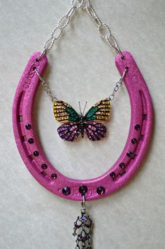 Horseshoe art lucky horseshoe decorated horseshoe by NotJustLuck