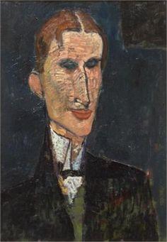 "Amedeo Modigliani: ""Viking Eggeling"" (oil on canvas) Paris 1916; 65 cm x 46 cm  Musée d'Art moderne, Lille, France"