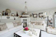 Wohnzimmer im weißen Landhausstil